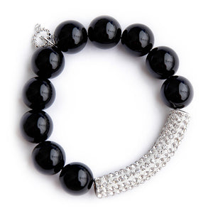 Black onyx with clear pave bar
