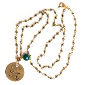 Gold hematite rosary chain necklace with green jade accent and hand stamped bronze Taurus medal