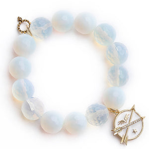 Faceted opalite paired with a white enameled double arrow medal