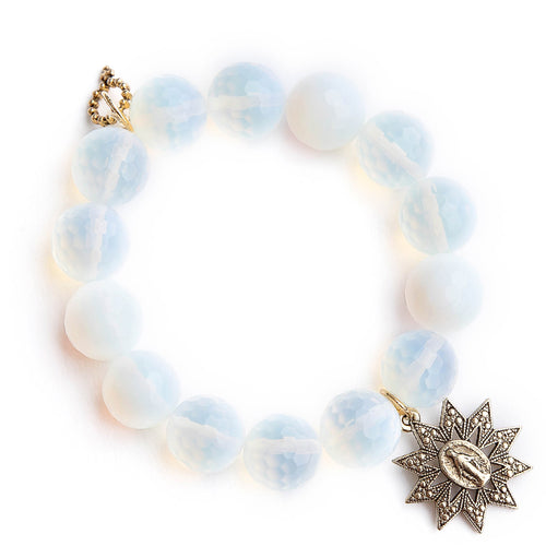 Faceted opalite paired with a bronze starburst Miraculous medal
