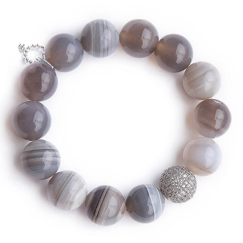 Grey swirl agate paired with a silver micropave