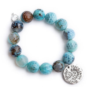 Faceted ocean reef agate paired with a silver hammered spirit disc