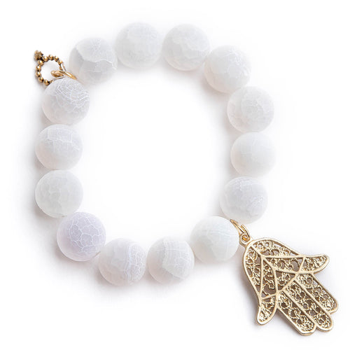 Matte white lace agate paired with bronze hamsa