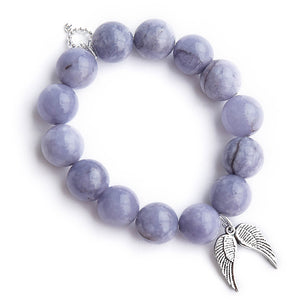 Nantucket blue agate paired with silver angel wings