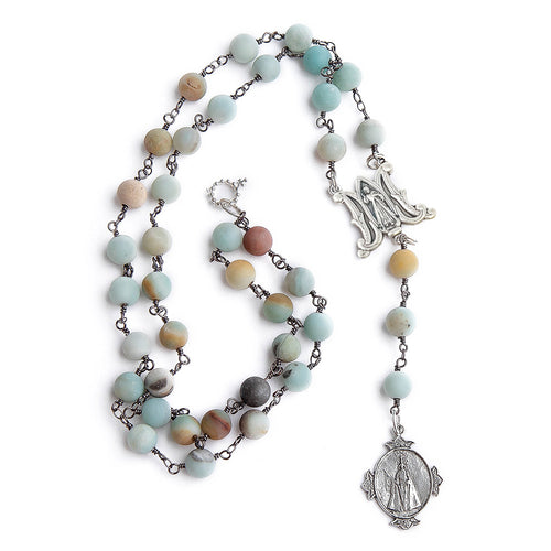 Amazonite and gunmetal rosary chain necklace with silver infant of prague pendant