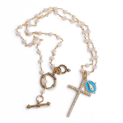 Faceted white jade rosary chain with gold pave cross and blue enameled mary