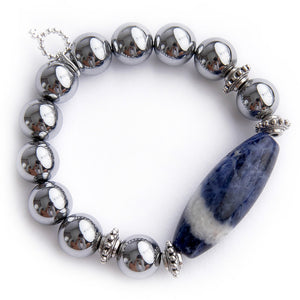 Silver hematite with dumortierite barrel statement and silver accents