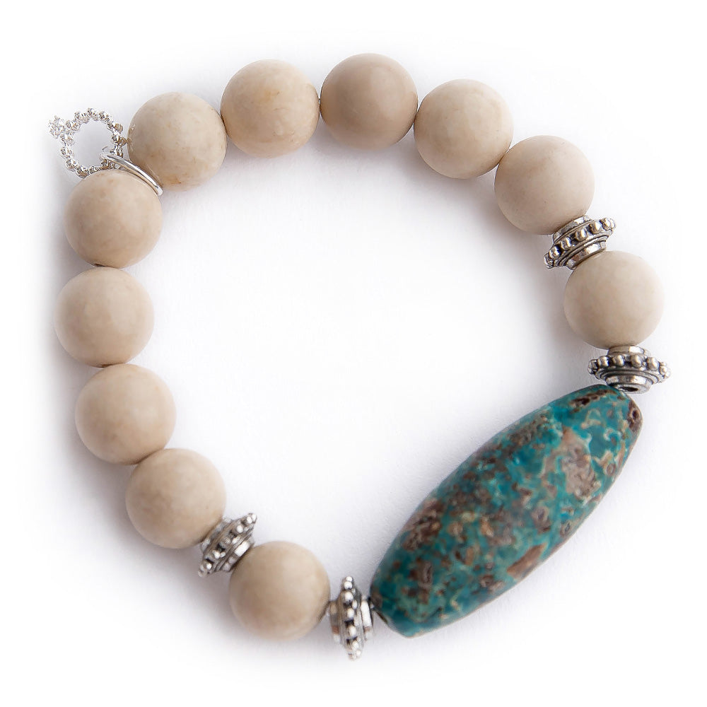 Cream coral with aqua mocha barrel statement and silver accents