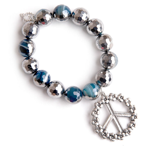 Faceted ice cap agate paired with a floral peace sign
