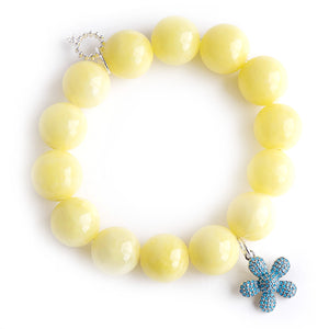 Lemonade jade paired with a turquoise pave flower