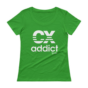 CX Addict White Print - Ladies' Scoopneck T-Shirt