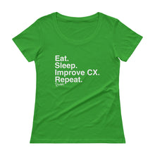 Load image into Gallery viewer, Eat. Sleep. Improve CX. Repeat. Ladies' Scoopneck T-Shirt