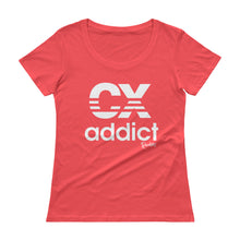 Load image into Gallery viewer, CX Addict White Print - Ladies' Scoopneck T-Shirt