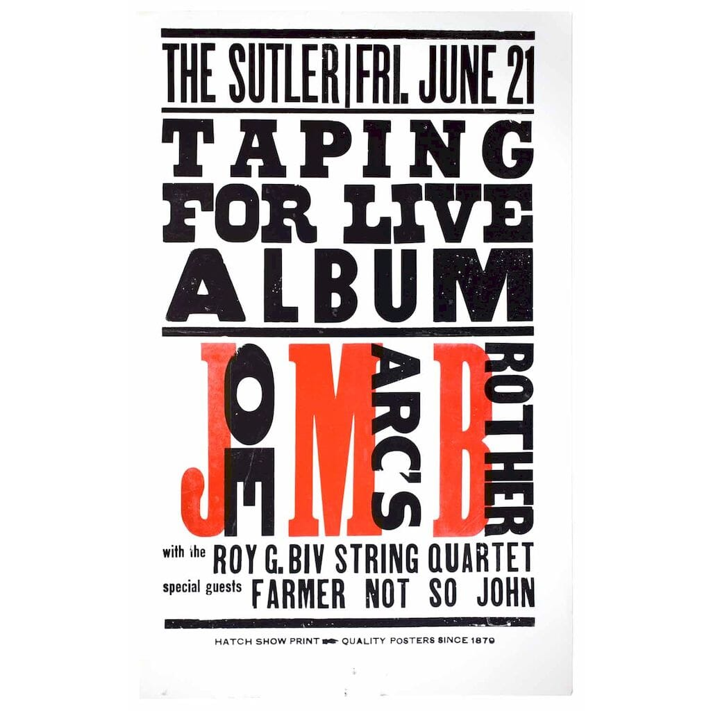 The Sutler. Fri. June 21. Taping for Live Album. Joe Marc's Brother with the Roy G. Biv String Quartet. Special guests Farmer Not So John.