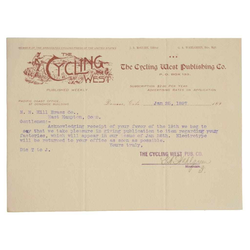 The Cycling West Publishing Co. Typed Letter Signed. January 25, 1897.