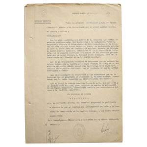 TLs from Juan Perón as Argentina's Minister of War, June 28, 1945