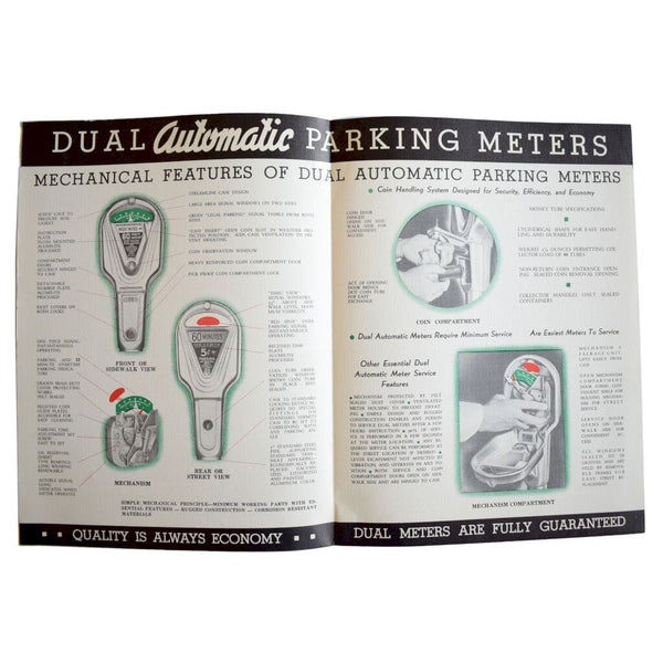 Four Dual Parking Meter Company Advertising Brochures