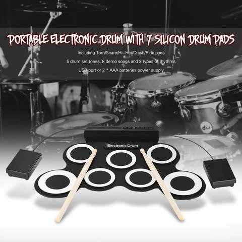 Portable Electronic Drum Pad with Built in Speaker 7 Pads and 2 Foot Pedals