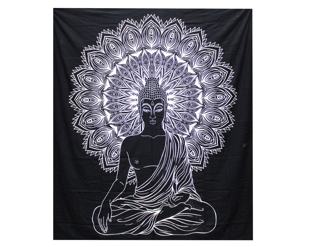 Sitting Buddha Black & White Double Cotton Bedspread + Wall Hanging