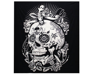 Rose Skull Black & White Double Cotton Bedspread + Wall Hanging
