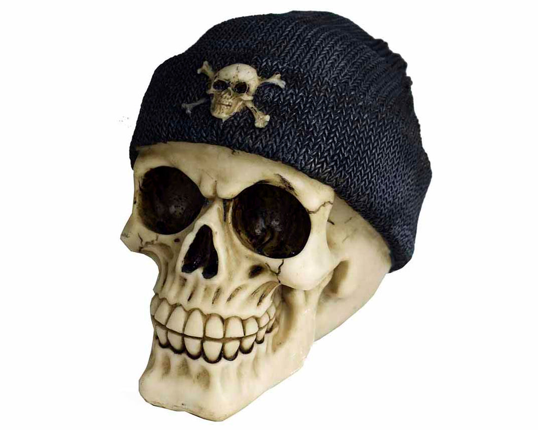 Decorative Skull Wearing Beanie Hat, Decor Ornament, Gothic, Biker, Halloween, Day of the Dead, Sculpture