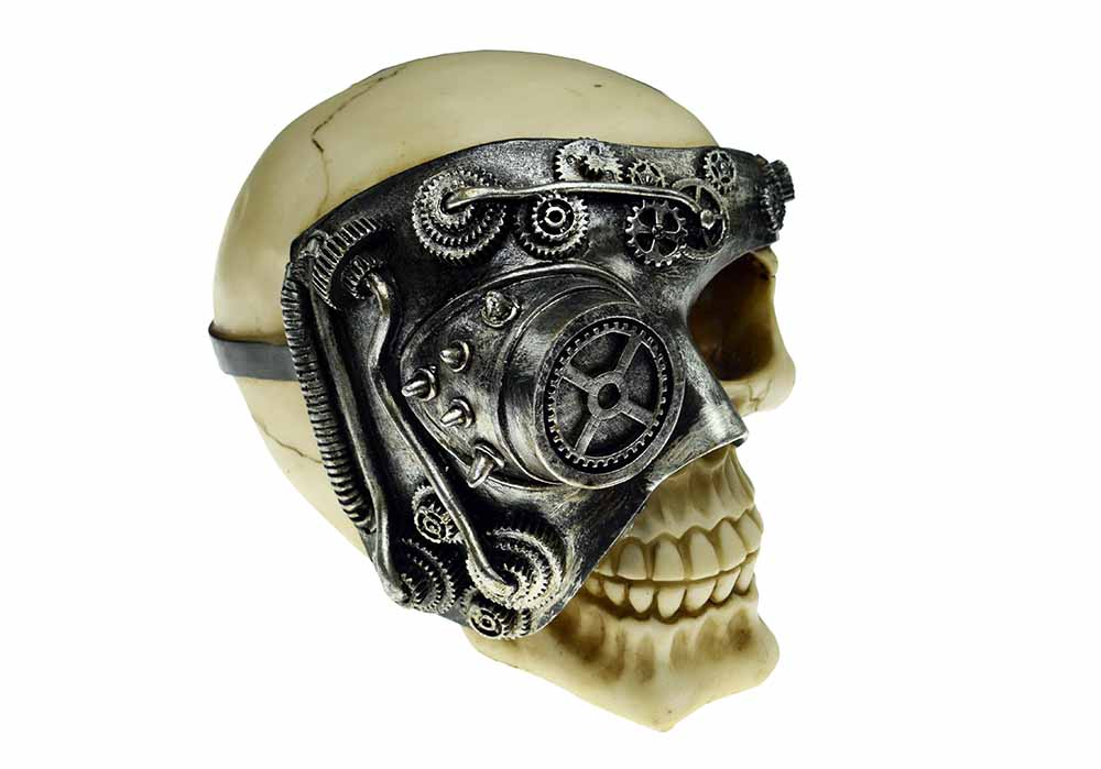 Steampunk Robot Skull With One Eye, Decor Ornament, Gothic, Biker, Halloween, Day of the Dead, Sculpture
