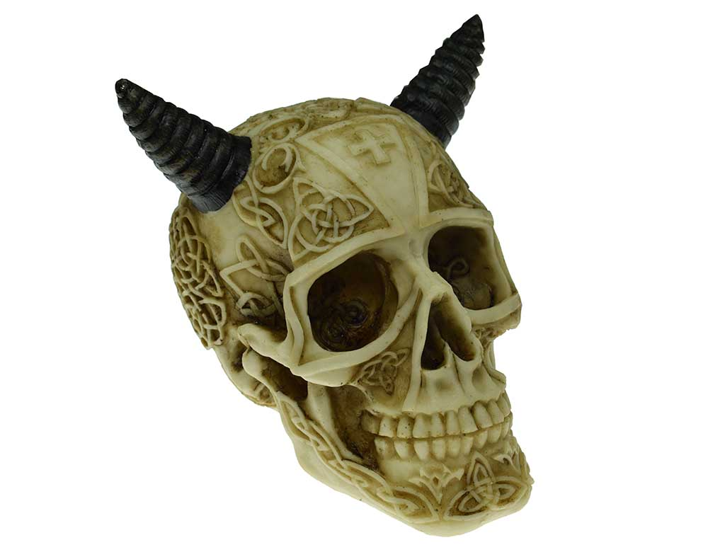 Decorative Skull With Ox Horns, Decor Ornament, Gothic, Biker, Halloween, Day of the Dead, Sculpture