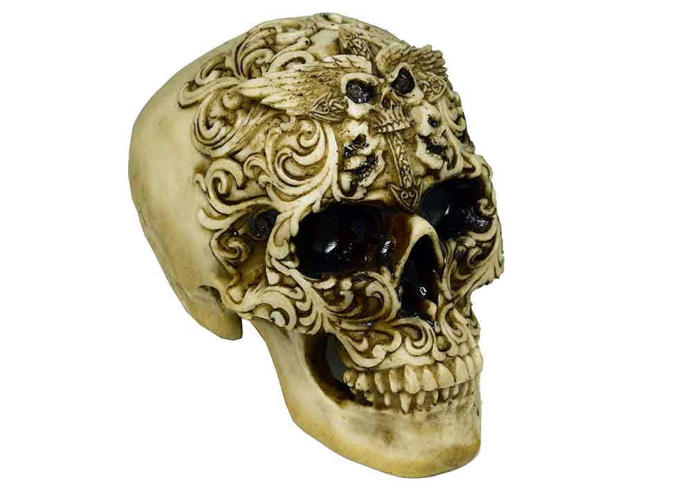 Decorative Tribal Floral Skull With Sunken Eyes, Decor Ornament, Gothic, Biker, Halloween, Day of the Dead, Sculpture