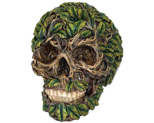 Green Foliage Covered Decorative Skull, Decor Ornament, Gothic, Biker, Halloween, Day of the Dead, Sculpture