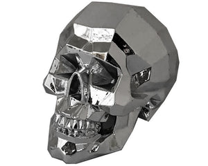 Silver Bevelled Edge Decorative Skull, Decor Ornament, Gothic, Biker, Halloween, Day of the Dead, Sculpture