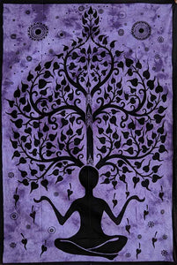 Purple Yoga & Tree Pattern Wall Art Hanging
