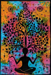 Multi Colour Yoga & Tree Pattern Wall Art Hanging