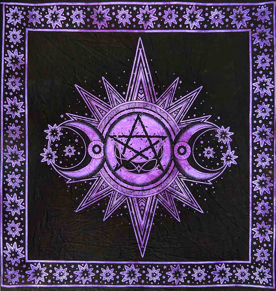 Purple Triple Moon Altar Table Cloth and Wall Art Hanging