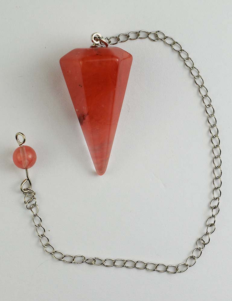 Cherry Quartz Dowsing Pendulum, Natural Gemstone Point
