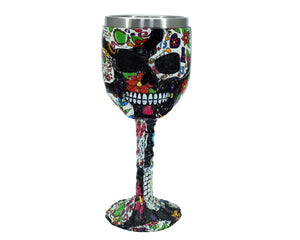 Hearts & Flowers Skull Face Goblet