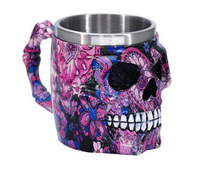 Pink & Purple Flowers Skull Face Tankard Mug