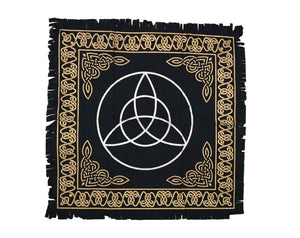 Triquetra Black White & Gold Altar Table Cloth and Wall Art Hanging