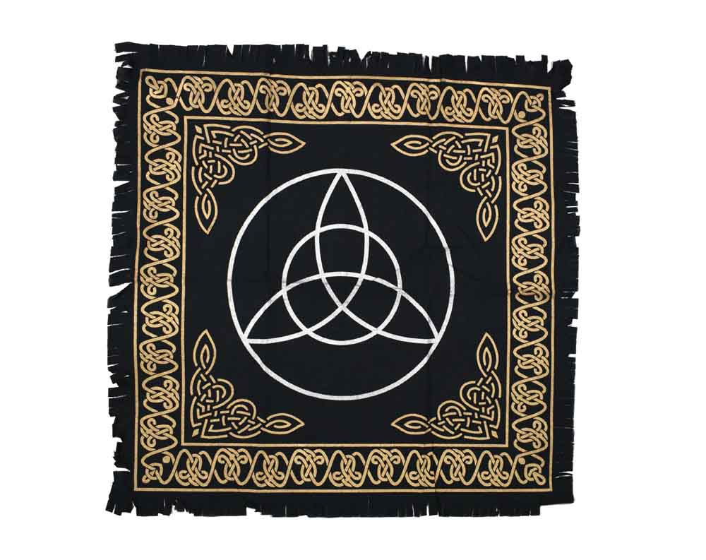 Triquetra Black White & Gold Altar Cloth, Table Cloth, Wall Art Hanging
