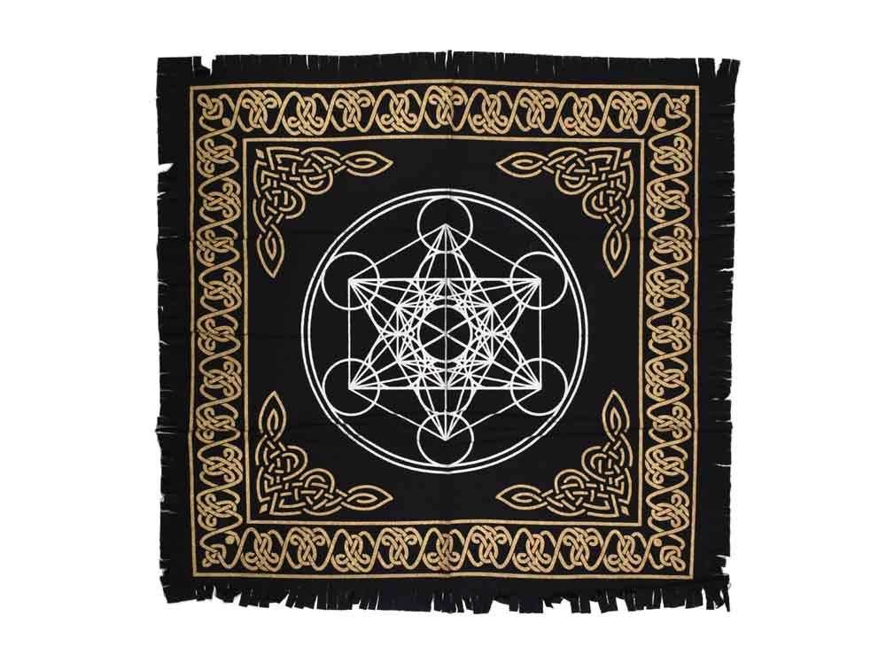 Geometric Black White & Gold Altar Table Cloth, and Wall Art Hanging