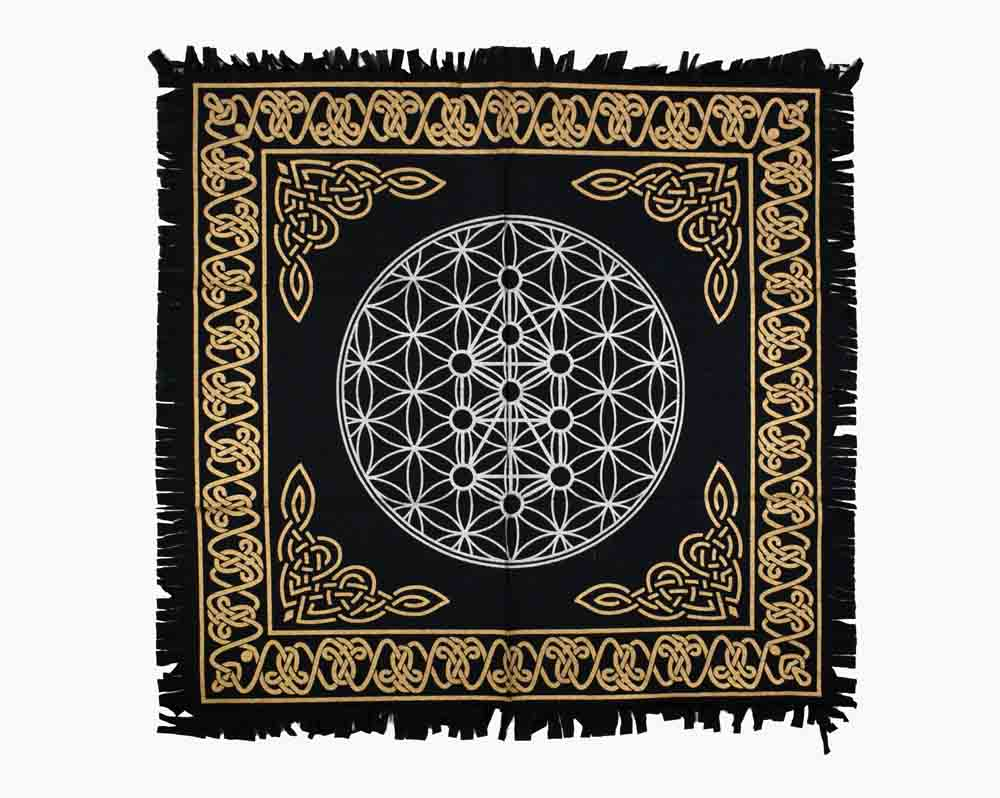 Flower Life Black White & Gold Altar Table Cloth and Wall Art Hanging