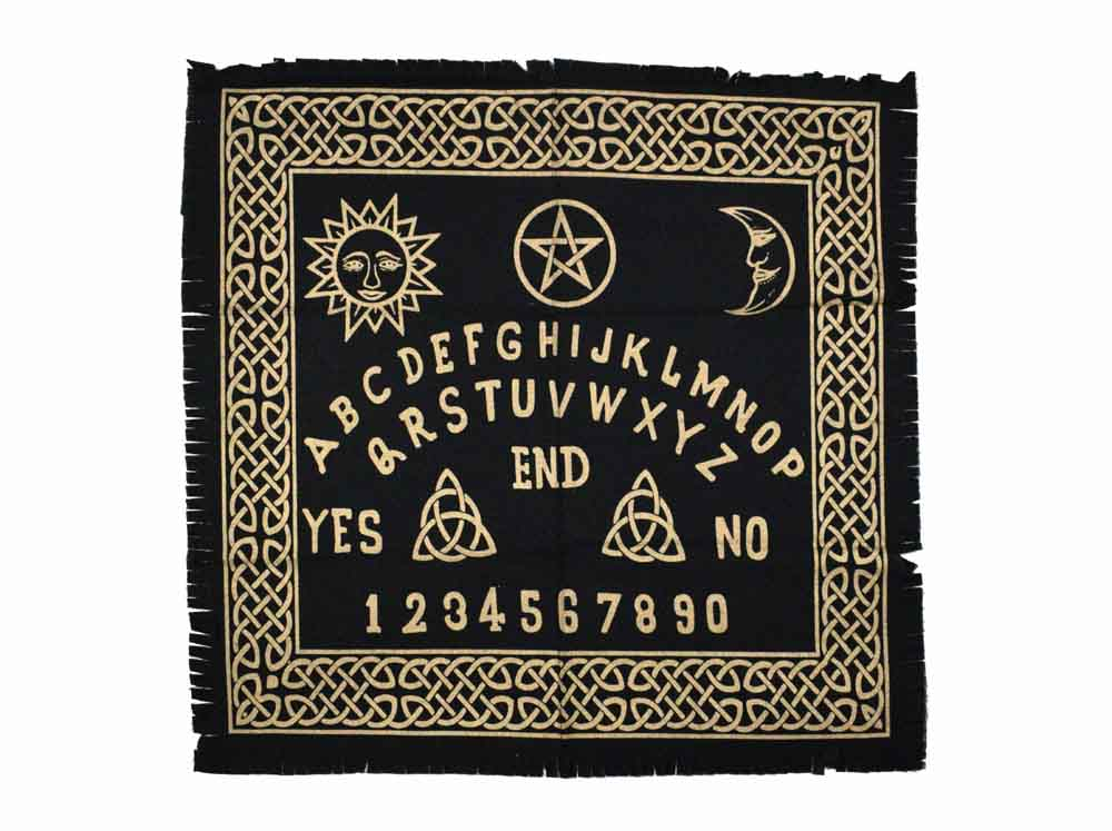 Ouija Board Black White & Gold Altar Cloth, Table Cloth, Wall Art Hanging