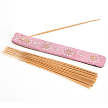 Load image into Gallery viewer, Pink Glitter Coloured Karma Mango Wood Incense Holder image 2