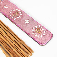 Load image into Gallery viewer, Pink Glitter Coloured Karma Mango Wood Incense Holder image 3