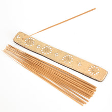 Load image into Gallery viewer, Yellow Glitter Coloured Karma, Mango Wood Incense Holder image 2