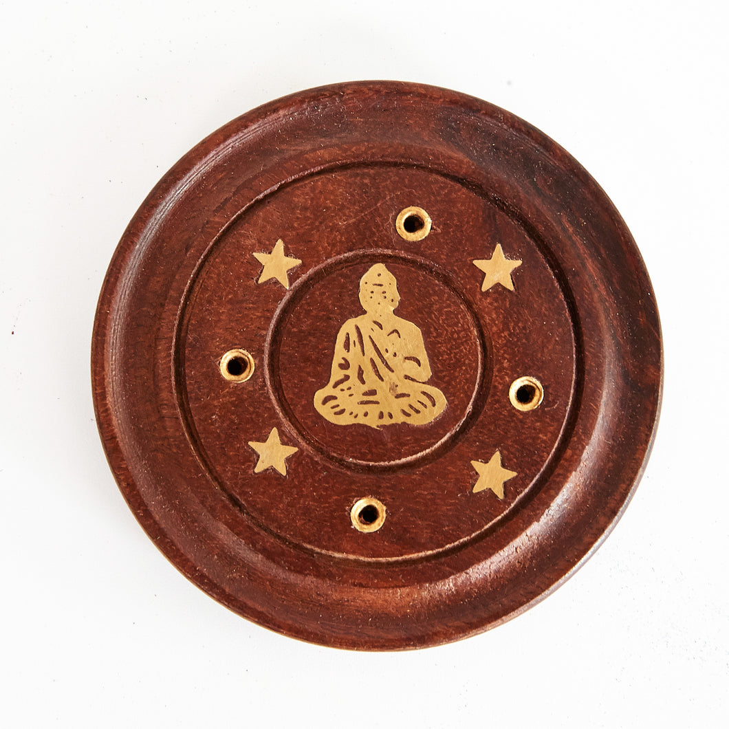 Sitting Buddha Mango Wood 4 Hole Disc Incense Holder image 1