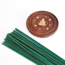 Load image into Gallery viewer, Sitting Buddha Mango Wood 4 Hole Disc Incense Holder, Incense Burner Ash Catcher + 20 Free Vegan Friendly Incense Sticks