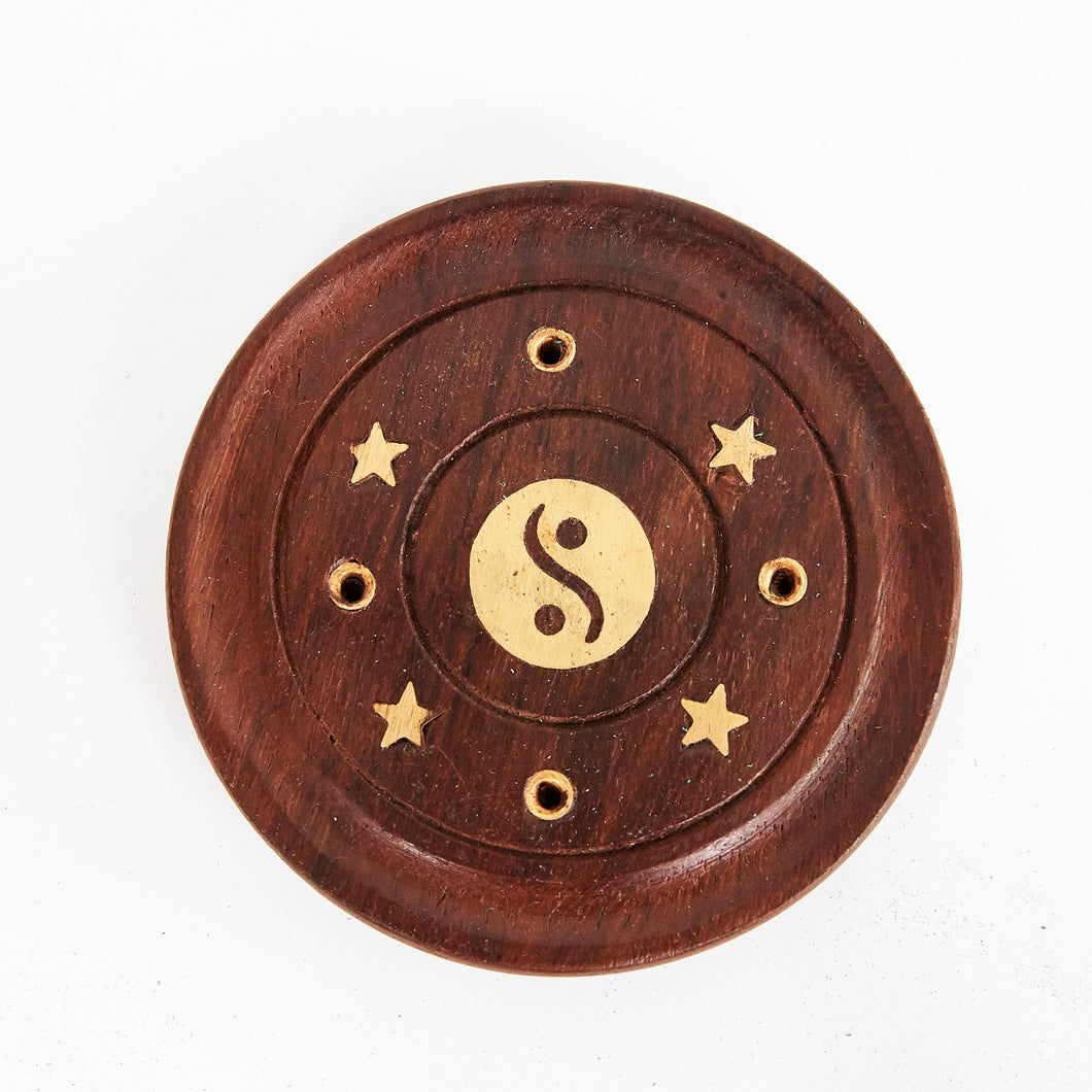 Yin & Yang Mango Wood 4 Hole Disc Incense Holder image 1