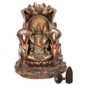 Large Bronze Ganesh Statue Backflow Incense Burner image 3