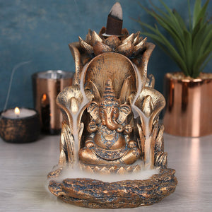 Large Bronze Ganesh Statue Backflow Incense Burner image 2