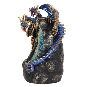 Glowing Blue Dragon Cave LED Light Up Backflow Incense Burner, 12 Free Backflow Incense Cones